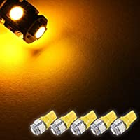 Zone Tech SMD Yellow Amber LED Light Bulbs - 5-Piece Premium Quality T10 194,168,2825 SMD Yellow Amber Super Bright Car Light LED Lamp Bulb