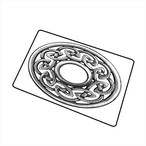 Non-Slip Floor mat,Royal Style Circular Celtic Pattern Graphic Print Metal Brooch Design Scottish Shield 32