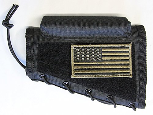 M1SURPLUS Black Color Cheek Rest With PATRIOT USA FLAG Morale Patch Fits Mosin Nagant 91/30 M38 Mauser 98 Lee Enfield Remington 700 770 Model Seven 7 Mossberg ATR MVP (Flex and predator models) Rifles