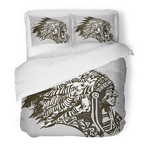 SanChic Duvet Cover Set Red Native North American Indian Chief Tribe Headdress History White Decorative Bedding Set with 2 Pillow Shams Full/Queen Size