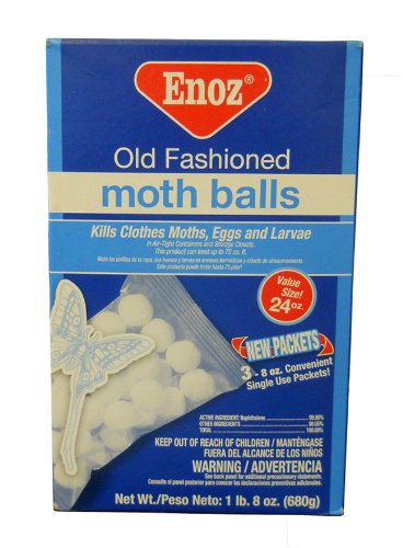 (NEW Enoz Old Fashioned Moth Balls Value Size 24 Ounces Large Box 680 G Kills Fleas Moths Keeps Snakes Deer Cats Dogs Away Willert Made in USA)