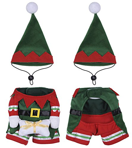 Yunt Pet Costume Hat and Coat Elf Set,Funny Cat Puppy Dog Christmas Clothes Outfit Fancy Dress(Small)