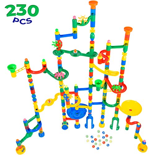 MagicJourney Giant Marble Run Toy Track Super Set Game I 230 Piece Marble Maze Building Sets w/ 200 Colorful Marble Tracks, 30 Marbles & 4 Challenge Levels for STEM Learning, Endless Educational Fun (Marble Kids Game)