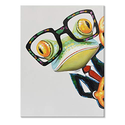 JAPO ART Funny Animal 100% Hand Painted Oil Painting with Stretched Frame Wall Art for Kids Room Bedroom Living Room Ready to Hang (Gentleman Frog, 24 x 32 Inch)
