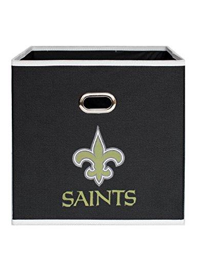 NFL New Orleans Saints Fabric Storage Bin, 11 x 11-inches, Black