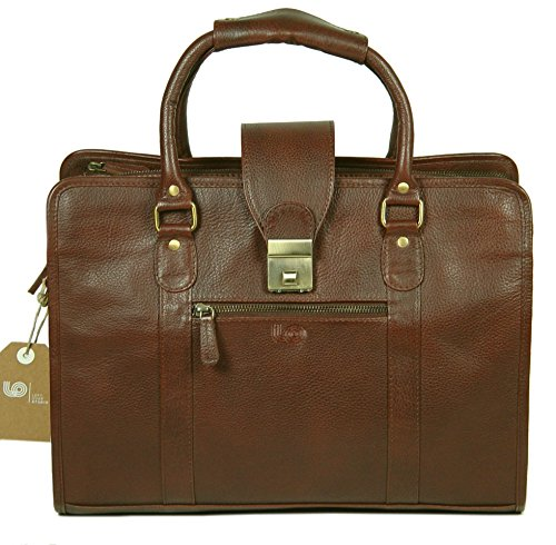 LeftOver Studio Genuine Leather Unisex Laptop Bag Organizer Briefcase Messenger Bag with Combination Lock by Leftover Studio (Image #1)