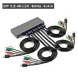 CKLau 4Kx2K@60Hz 4:4:4 DP Displayport KVM Switch