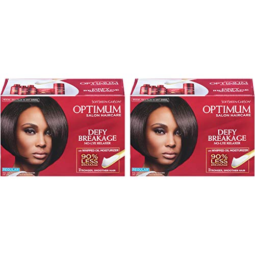 Optimum Care by SoftSheen Carson Care Defy Breakage No-lye Relaxer, Regular Strength for Normal Hair Textures, Optimum Salon Haircare, Hair Relaxer with Coconut Oil, 2 Kits