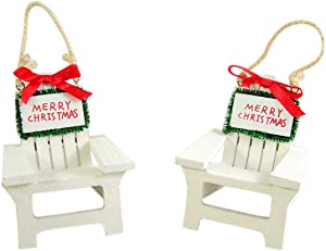 Beach Chair Hanging Christmas Ornament Set of 2