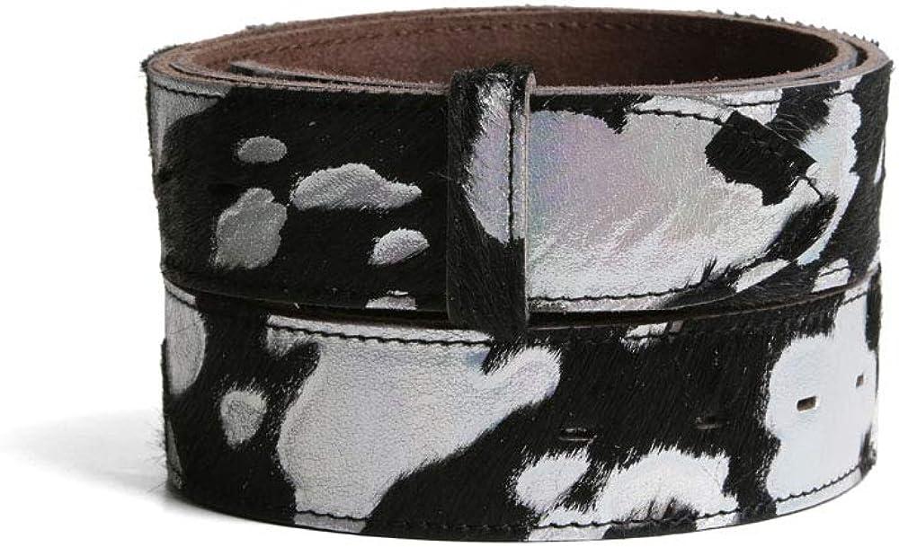 VaModa Belt, Cinturón en piel, modelo Animalprint, colore negro argento, sin hebilla