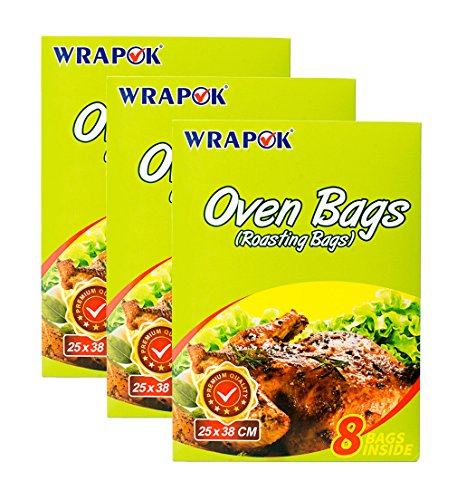WRAPOK Cooking Oven Bags Small No Mess Roasting Bags For Turkey Chicken Meat Poultry Fish Seafood Vegetable - 24 Bags (10 Inch x 15 Inch)
