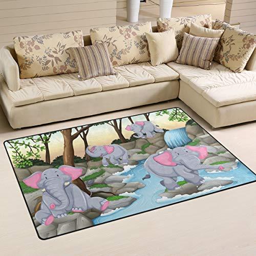 Four Elephants Waterfall Area Rugs 5' x 3' Door Mats Indoor Polyester Non Slip Multi Rectangle Carpet Kitchen Floor Runner Decoration for Home Bedroom Living Dining Room