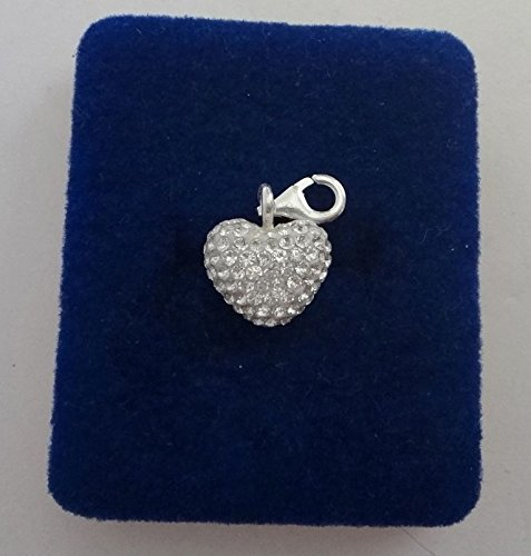 Pendant Jewelry Making Sterling Silver 15x12mm Clear Crystals Solid Puffy Heart Charm w/Lobster Clasp