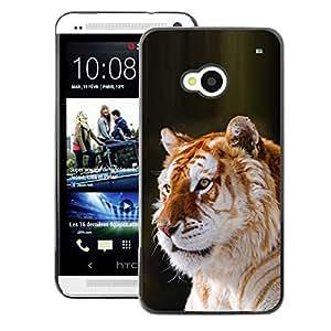 A-type Arte & diseño plástico duro Fundas Cover Cubre Hard Case Cover para HTC One M7 (Tiger Orange Fur Big Cat Africa Tropical)