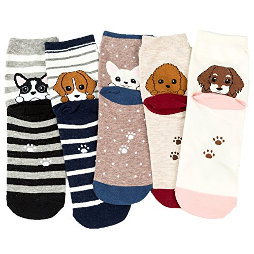Losa Kute 5 Pairs Women Crew Socks Casual Cute Cotton Cat Dog Socks Long Ankle Socks Lovely Colorful Funny Novelty Girls Warm Stockings Socks with Design for Sneakers Boots Ladies WCS2-Dogs