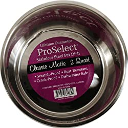 ProSelect 2-Quart Stainless Steel Classic Matte Pet Bowl, 8-Inch