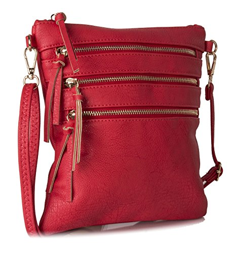 Unisex Red Shop Handbag Multi Mini pocket Leather Body Cross Vegan Big Bag Zip Messenger Small Lightweight Shoulder aUExg4qq5w