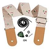 Dulphee Ukulele Strap Cotton Linen Adjustable Ukulele Shoulder Strap with Leather Ends, 1 Pick & 1 Button (Cherry)