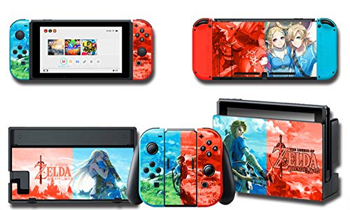 Full Set Protection Faceplate Console Joy-Con Dock Protector Wrap Skin Decal Compatible with Nintendo Switch, Games Full Set Protective Faceplate Stickers Console Joy-Con Dock(Zelda Series) from ALLPE