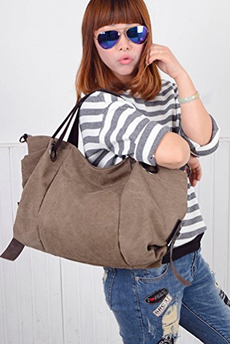 Brown Tote Shoulder Shopper Hobo Capacity Canvas Travel Handbags Womens ZKOO Bag Bags Large ApqvS