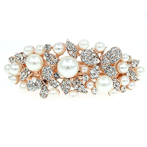Flower Finish (Pale Gold Finish Flowers and Butterflies Hair Barrette w/Pearl & Rhinestones White)