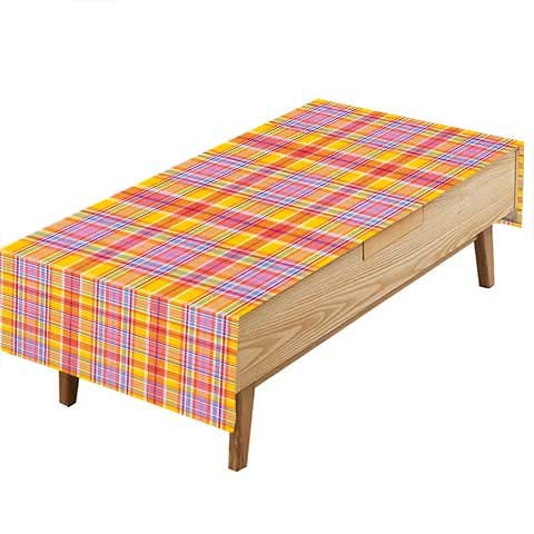 PINAFORE Natural Tablecloth Madras Style Motif withTone Bands Design Marig Pink Earth Yellow Table Cloth Dining Room W70 x L120 INCH ()