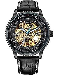 Carrie Hughes Men Steampunk Automatic Watch Skeleton Luminous Stainless steel Mechanical Waterproof Watch (CHG008...