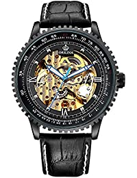 Men Black Steampunk Automatic Watch Luminous Hands Stainless Steel Skeleton Mechanical Leather Watch CHG008 (CHG008)