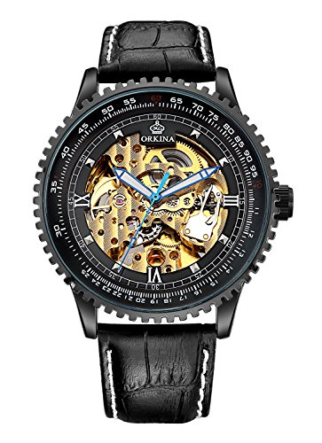 Carrie Hughes Men's Fashion Luxury Tourbillon Automatic Mechanical Waterproof Watch Leather Date