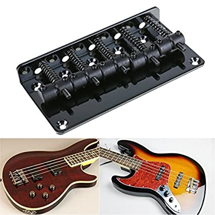 4-String Bass Guitar Bridge and Tailpiece Set in Chrome Black or Gold