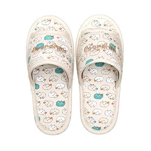 Hygienic 100% Cotton Non Slip Washable Slippers,Open Toe & Unisex, Made in Korea (Sheep Blue)