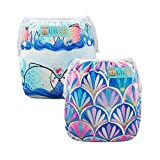 Alva Baby Swim Diapers 2pcs One Size Reuseable Washable & Adjustable for Swimming Lesson & Baby Shower Gifts SWD52-53