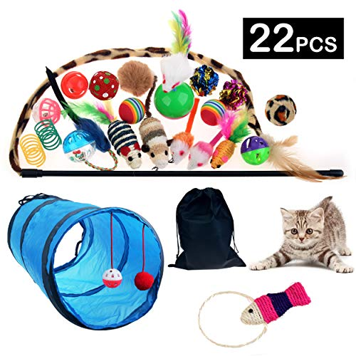 JINCH 22Pcs Cat Toys Kitten Toys Assortments, 2 Way Cat Tunnel, Colorful Springs, Cat Teaser Wand, Fish, Interactive…