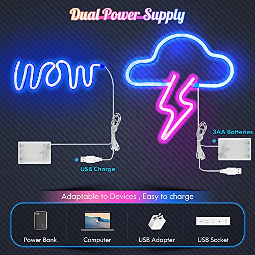 Neon Signs for Wall Decor, Orenic USB or Battery Powered Lightning Cloud Wow Neon Light Sign, LED Hanging Neon Sign for Girls Boys Bedroom, Living Room, Birthday, Wedding Party, Bar Decorative