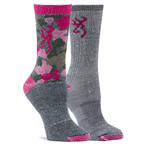 Browning Women's Everyday Wool Camo Socks | Fuchsia Camo | Gray Marl Fuchsia | Medium 2 Pack ()