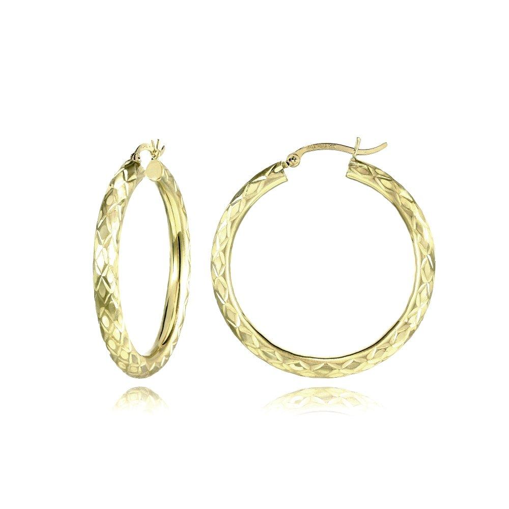 14K Gold Diamond-Cut 3mm Lightweight Medium Round Hoop Earrings, 38mm