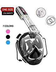 RKD Full Face Snorkel Mask,Snorkeling Mask with Camera Mount,180°Large View Snorkel Dive Masks with Newest Safety Breathing System,Dry Top Anti-Fog Anti-Leak for Adults and Kids Universal Size