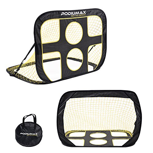 Soccer Portable Indoor Goals - PodiuMax 2 in 1 Pop Up Soccer Goal, Portable Indoor/Outdoor Soccer Target Net, Pickup/Scrimmage Game Use