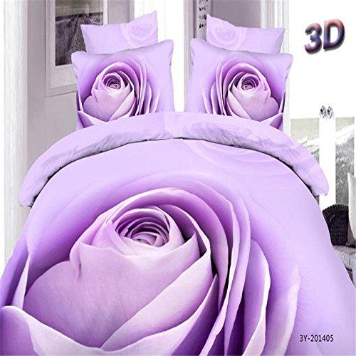 ZQ Contemporary fashion retro boutique printing 3D activity set of four cotton sheets Strawberry flower purple rose , violet , - Violet Strawberry