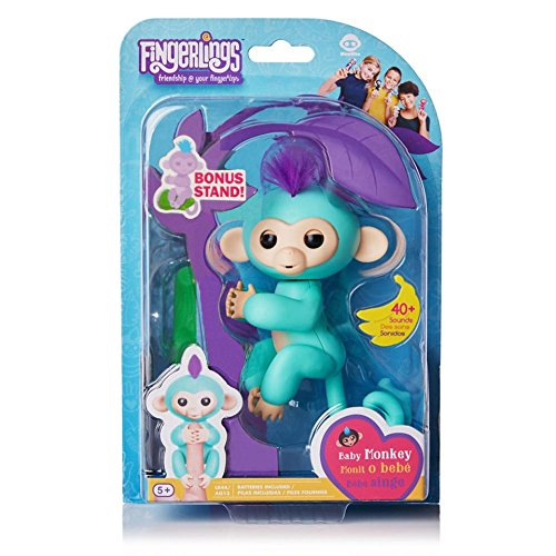 Fingerlings Baby Monkey - Zoe - Turquoise (Includes Bonus Stand)