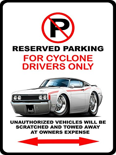 Cyclone Spoiler - 1968 1969 Mercury Cyclone Spoiler II Muscle Car-toon No Parking Sign