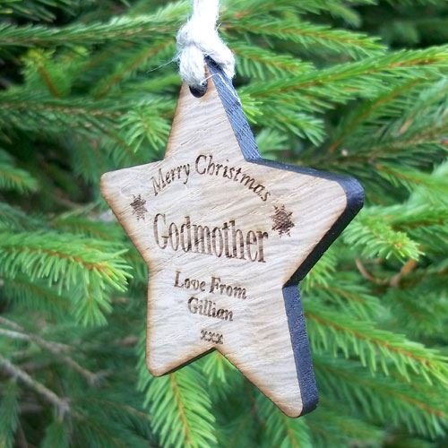 godmother christmas gift godmother xmas wooden christmas gift star decoration personalised godmother gift free gift box amazoncouk kitchen home
