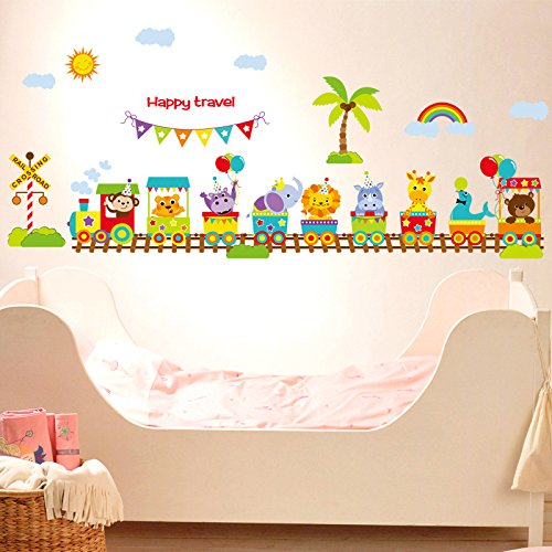 Baby Wall Decals for Nursery - Baby Jungle Animal Cute Large Peel and Stick Wall Sticker – Animal Train Removable Wall Décor - Safari Animal Vinyl Wall Mural for Baby/Nursery, Children's Room Baby Mural