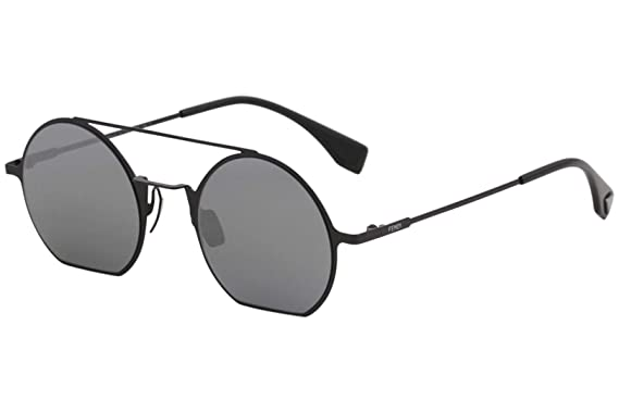 677820aaaec Image Unavailable. Image not available for. Color  Fendi Eyeline FF 0291  807 T4Black Metal Round Sunglasses Blue ...