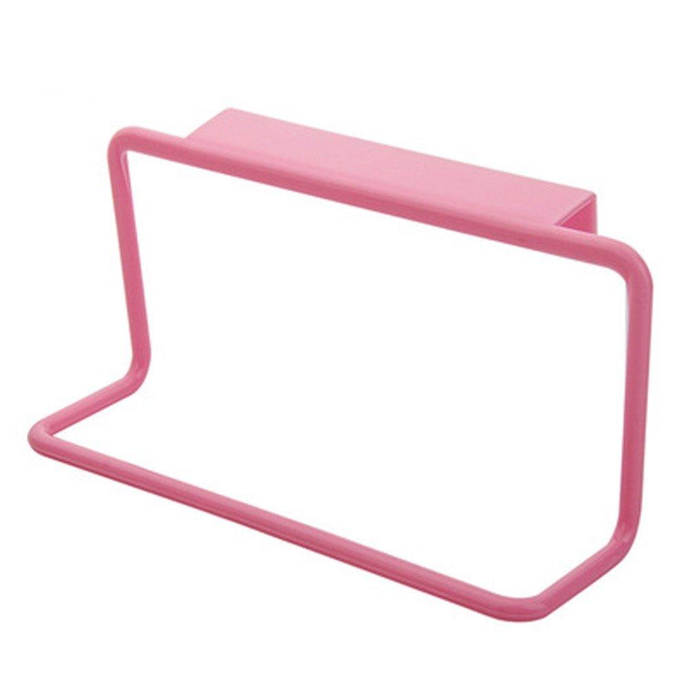 KFSO Home Towel Rack Hanging Holder for Organizer Bathroom Kitchen Cabinet Cupboard Hanger Over Door (Pink)