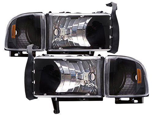 HEADLIGHTSDEPOT Black Housing Halogen Euro Clear Style Headlights Compatible with Dodge Ram 1500 2500 3500 Includes Left Driver and Right Passenger Side Headlamps ()