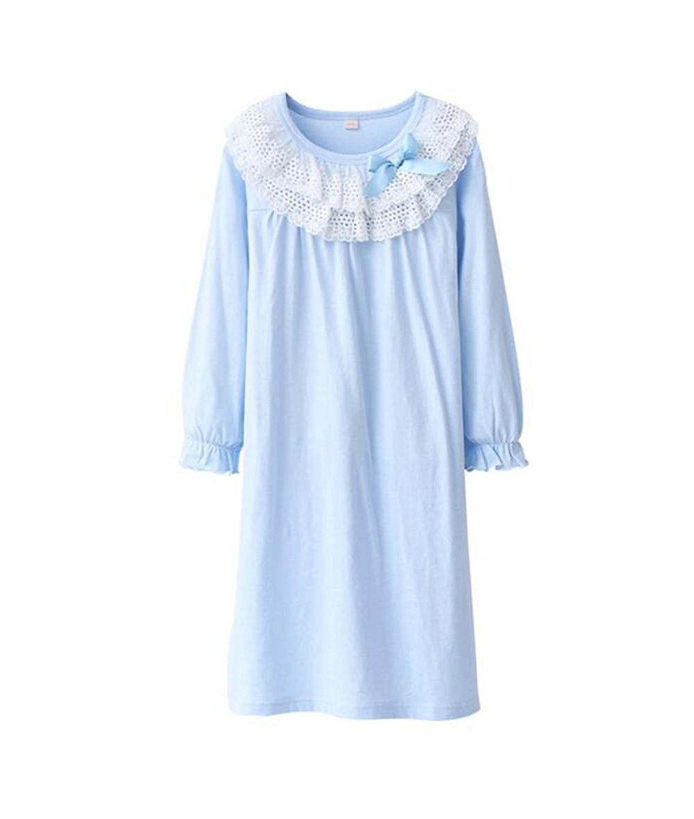 BYXA Lovely Girls' Long Sleeve Sleep Shirts Cotton Nightgowns Sleepwear(4T-13T)
