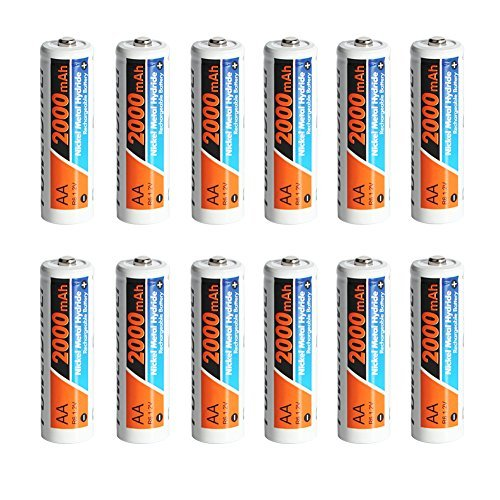 PowerDriver 12 Pack Aa Ni-MH NiMH Rechargeable Batteries for Solar Lamp Microphone Shavers Toy by PowerDriver