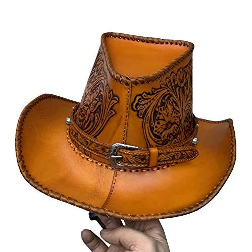 ae5f7964238 Men Women Vintage Leather Cap Western Horse Riding Wide Brim Cowboy Hat  (Brown)