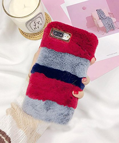 Losin Plush Case Compatible with Apple iPhone 7 Plus / iPhone 8 Plus 5.5 Inch Fashion Luxury Cute Colorful Fuzzy Furry Winter Rabbit Hair Warm Plush Fluffy Fur Soft TPU Back case ()
